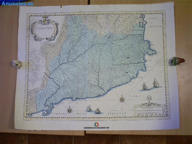 Lamina Con Cartografia De Catalonia, Insignia Del Parti