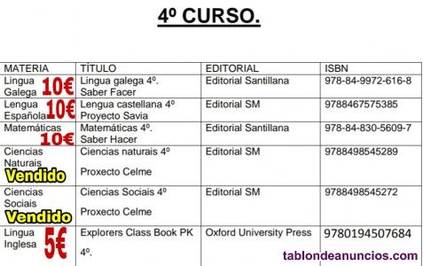 Libros de texto 4°primaria