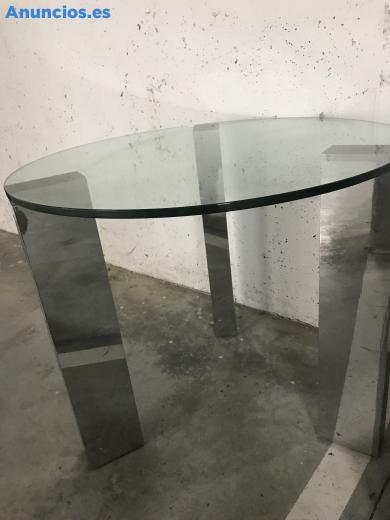 Mesa De Cristal Y Acero De DiseñO