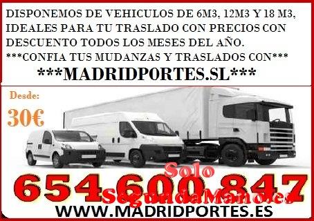 OFERTA! TRANSPORTES Y MUDANZAS  MADRID-PORTES