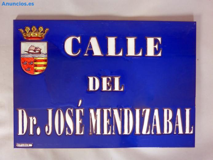 Placa De Calle Azul Con Escudo 31x45 Cm