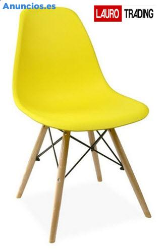 Silla PARIS-PP-AM, Madera, Polipropileno Amarillo