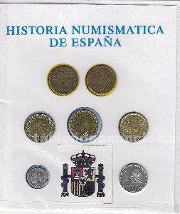 Historia de la peseta, colección de 7 monedas que