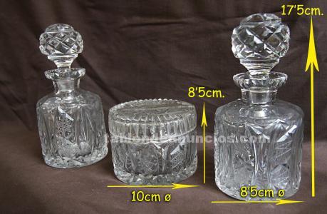 Juego de tocador, vidrio tallado, s.xix