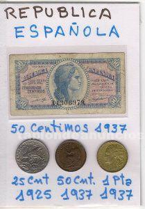 República española. Lote con 1 billete y 3 monedas