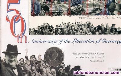 Sobre con la moneda de gran bretaña, conmemoran los 50