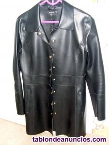 Abrigo corto negro piel sintetica t.l