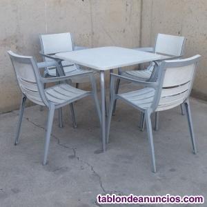 Conjunto mesa y sillas terraza blanco