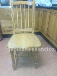 Venta banco cocina, mesa y sillas en madera castaño