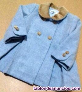 Abrigo azul con cuello marron terciopelo