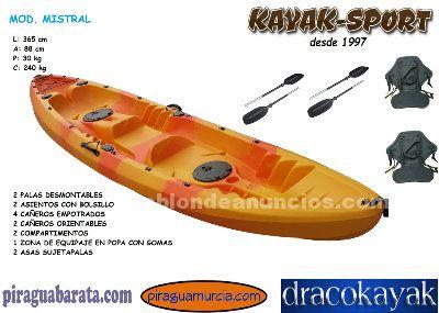 Kayak pesca 2 plazas + 1 niño autovaciable totalmente
