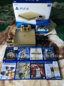 Ps4 1tb oro console con 8 juegos gratis