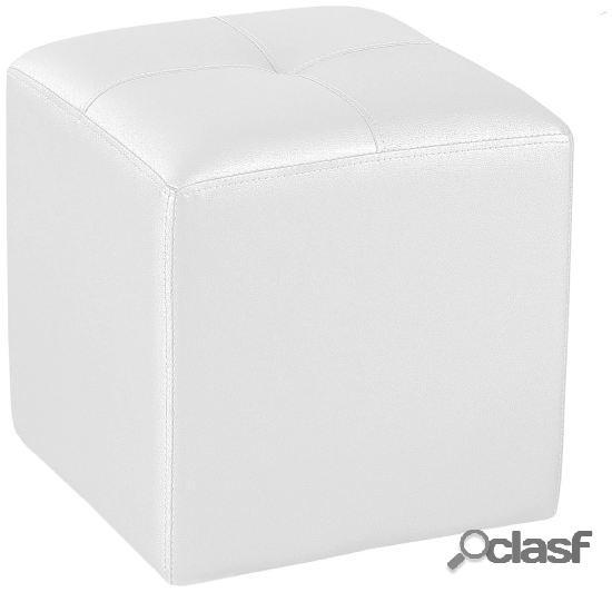 Wellindal puf cuadrado tapizado blanco 35 cm x 35 cm