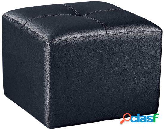Wellindal puf cuadrado tapizado negro 50 cm x 50 cm