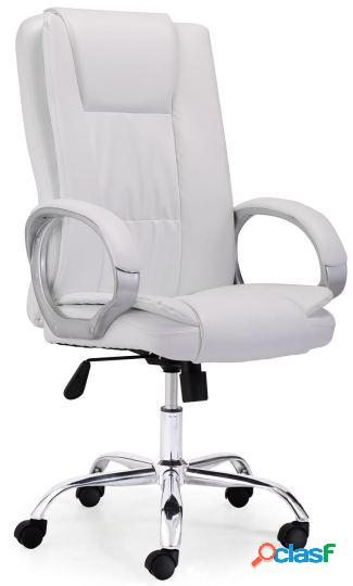 Wellindal sillón giratorio atlas símil piel blanco