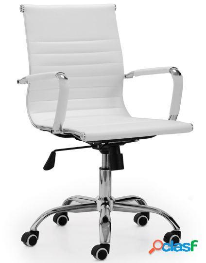 Wellindal sillón giratorio lucy símil piel blanco