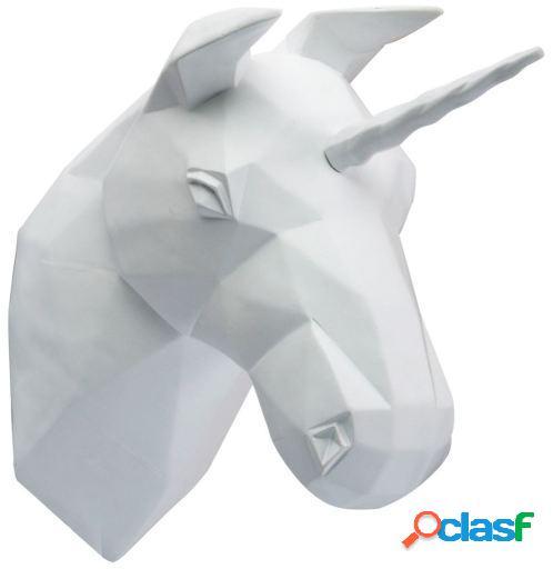 Wellindal trofeo de pared unicorn -geometric version--blanco