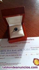 Estupendo anillo de oro 18 kt con saphir y diamantes