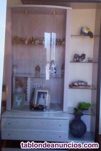 Armario vitrina con mueble bajo y estanteria