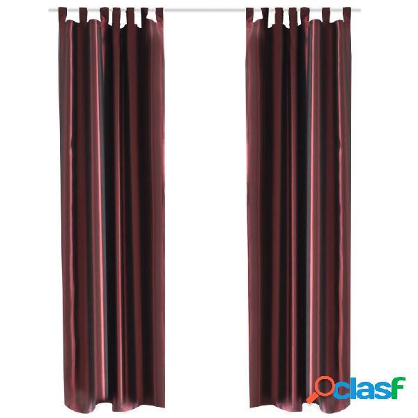 2 Cortinas rojo burdeos de tafetán de 140 x 245 cm