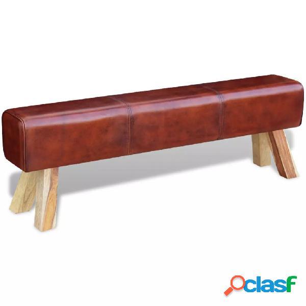 Banco de cuero real 160x28x50 cm marrón