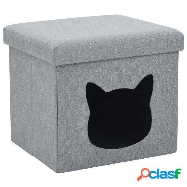 Cama plegable para gatos lino sintético 37x33x33 cm gris