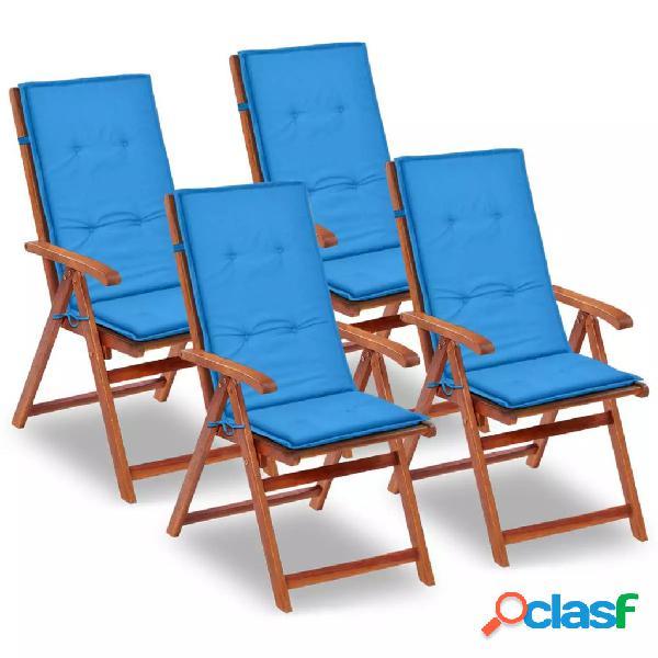 Cojines para sillas de jardín 4 unidades azules 120 x 50 x
