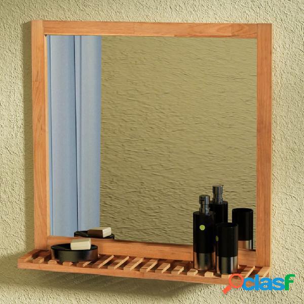 Espejo de cuarto de baño 60x63 cm madera maciza de nogal