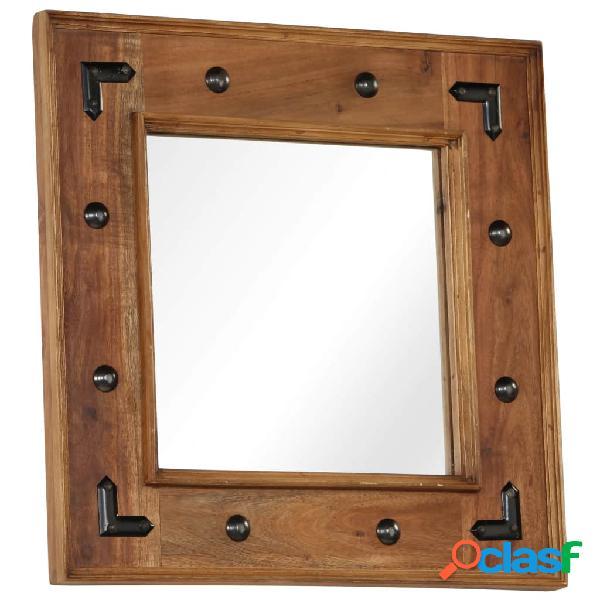 Espejo de madera maciza de acacia 50x50 cm