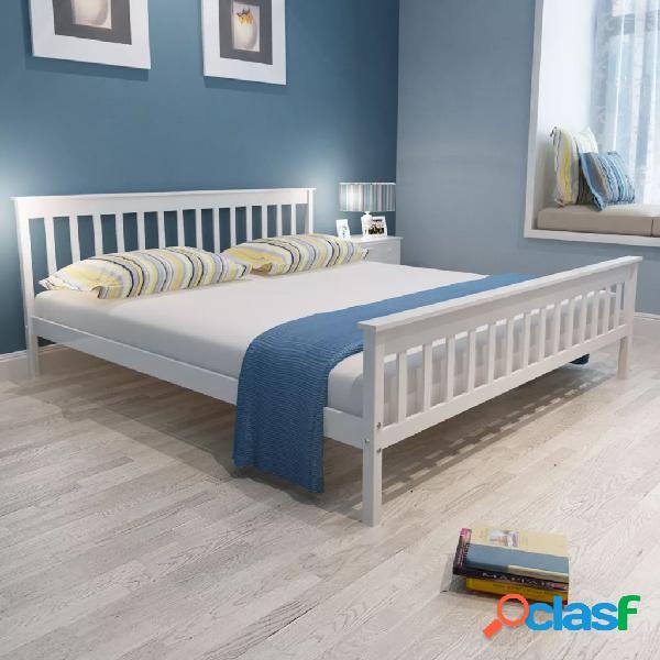 Estructura de cama blanca 180x200 cm pino sólido