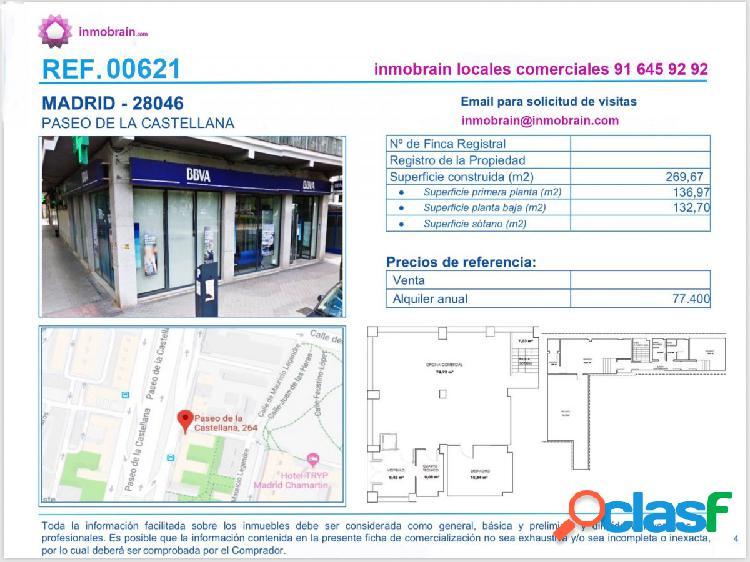 Local comercial en alquiler en el Paseo de la Castellana,