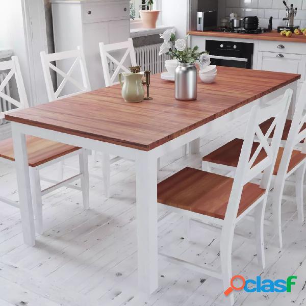 Mesa de comedor de teca maciza y caoba 180x90x75 cm