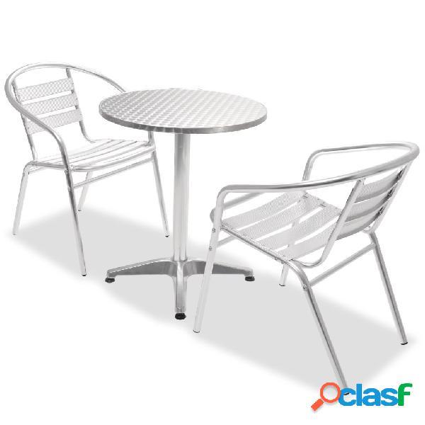 Mesa y sillas apilable bistro de jardín 3 piezas aluminio