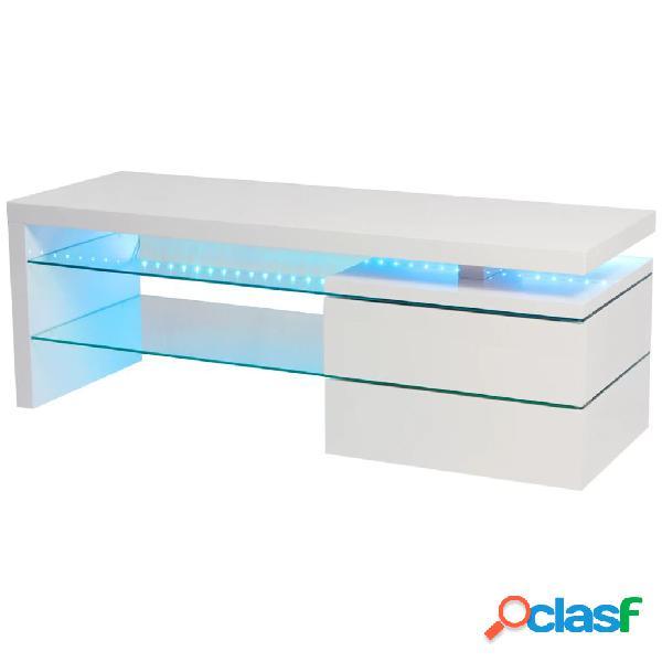 Mueble para TV con LED 120x42x43 cm alto brillo blanco