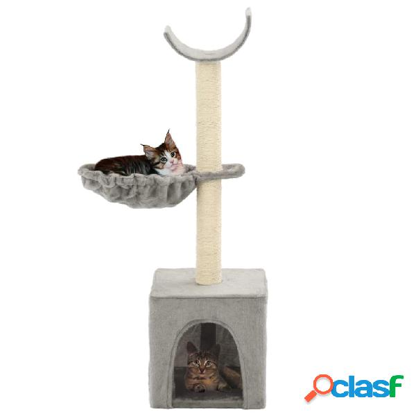 Rascador para gatos con poste de sisal 105 cm gris