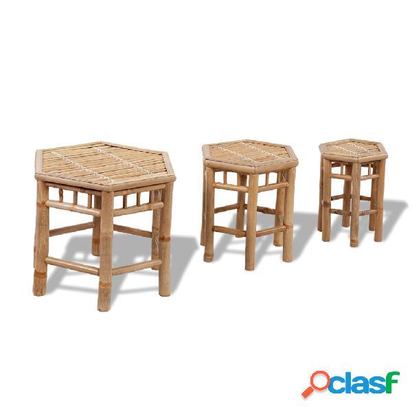 Set 3 taburetes hexagonales de bambú