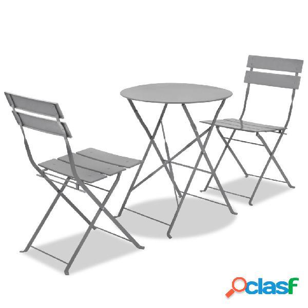 Set de mesa y sillas de jardín de acero gris