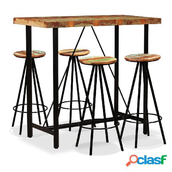 Set de muebles de bar 5 piezas madera maciza reciclada
