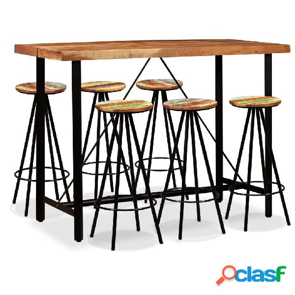 Set de muebles de bar 7 piezas madera de Sheesham y