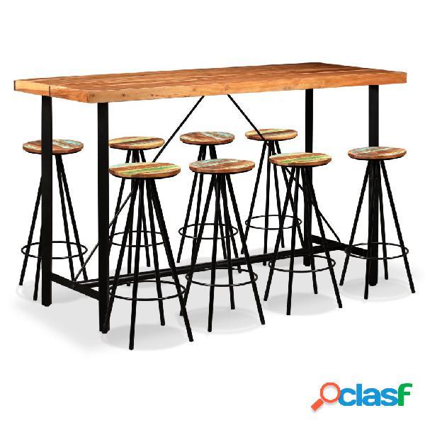 Set muebles de bar 9 piezas madera maciza Sheesham y