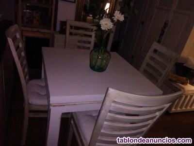 Conjunto de mesas libro, más 4 sillas de teka