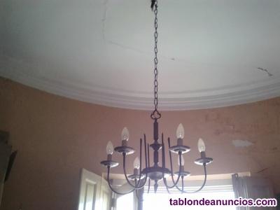 Vendo lámpara de techo antigua de bronce
