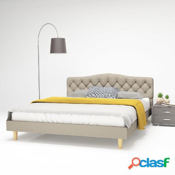 Cama con colchón viscoelástico 160x200 cm tela beige