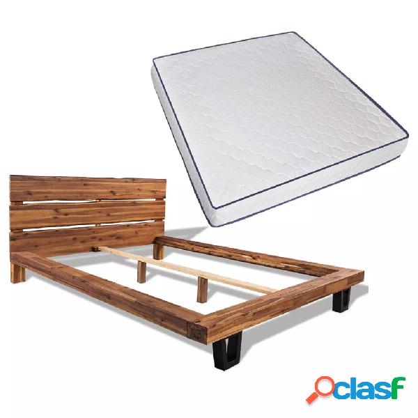 Cama con colchón viscoelástico de madera de acacia 180x200