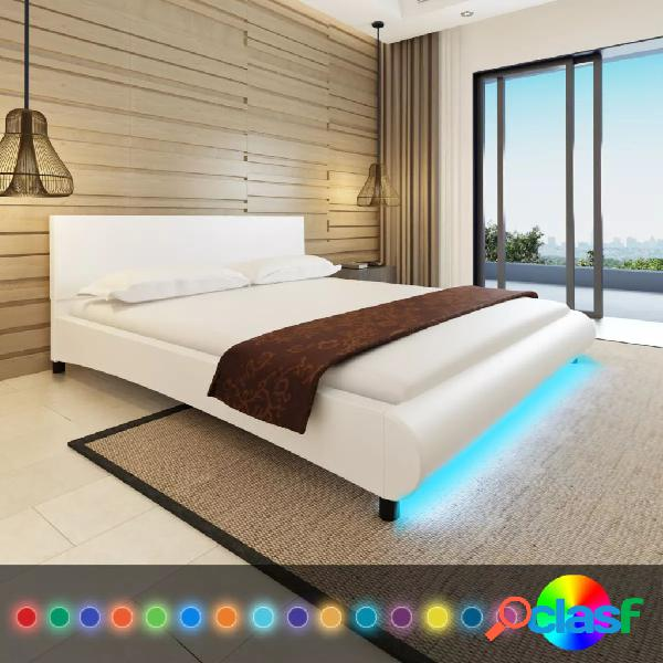 Cama con colchón y LED de cuero artificial blanca 180x200