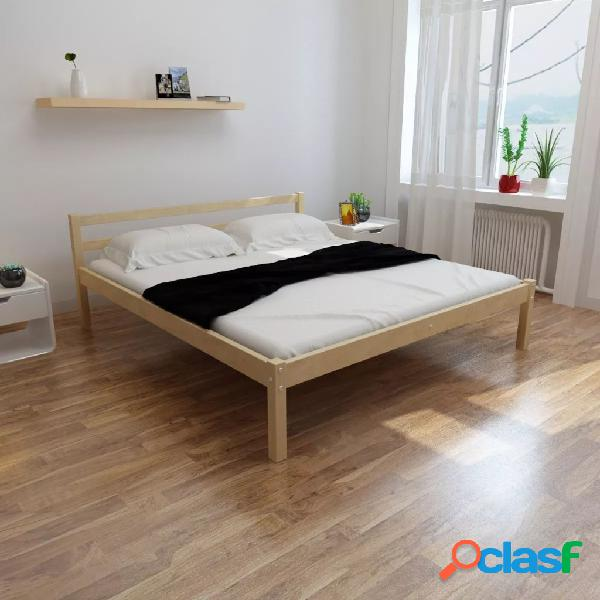 Cama de madera de pino maciza con colchón 180x200 cm