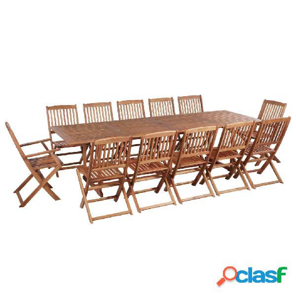 Juego de muebles de jardín madera maciza de acacia 13