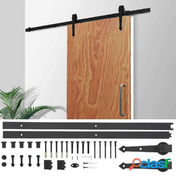 Kit de herrajes para puerta corredera 183 cm acero negro