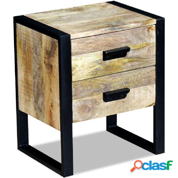 Mesa auxiliar con 2 cajones madera maciza de mango 43x33x51