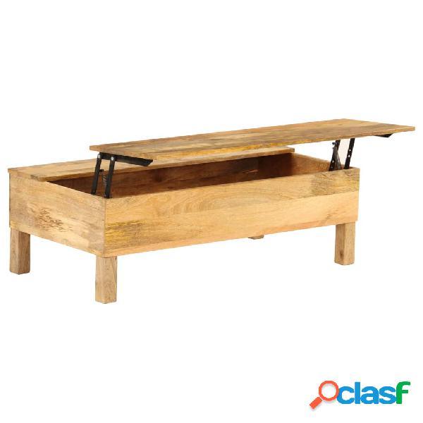 Mesa de centro de madera de mango maciza 110x55x35 cm